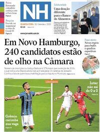 Capa do jornal Jornal NH 30/09/2020