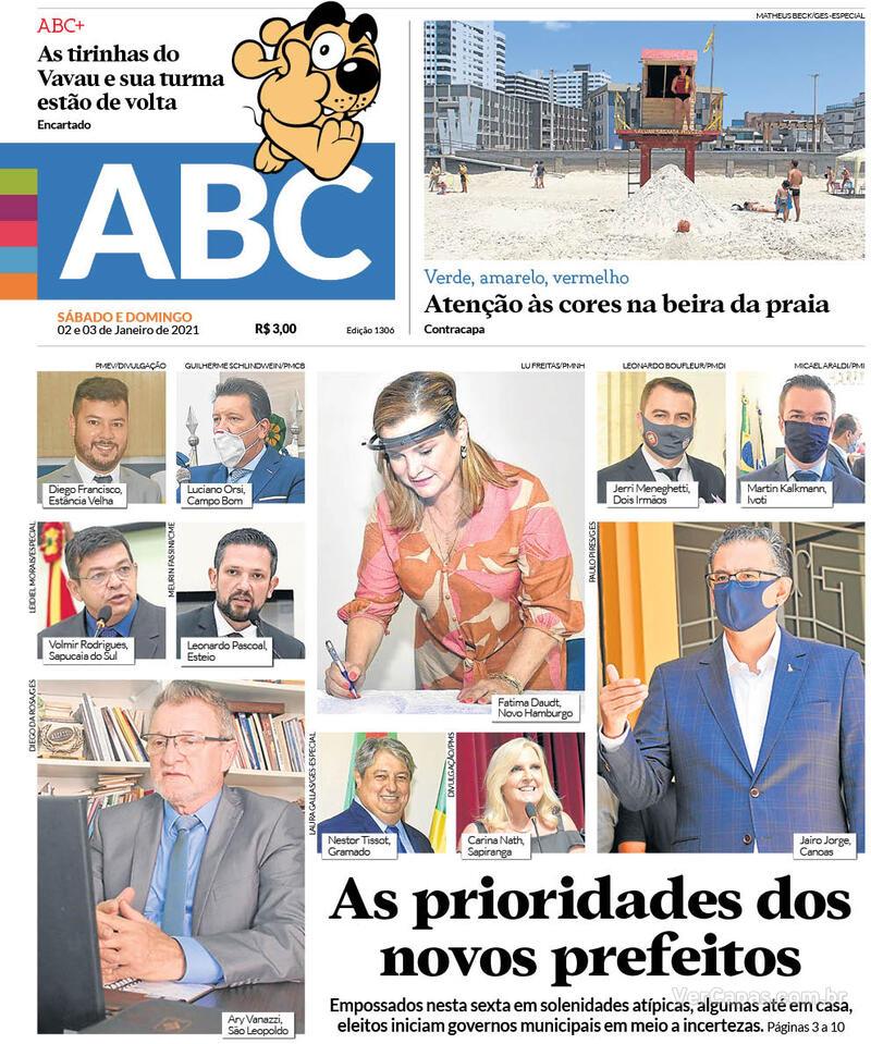 Capa do jornal Jornal NH 02/01/2021