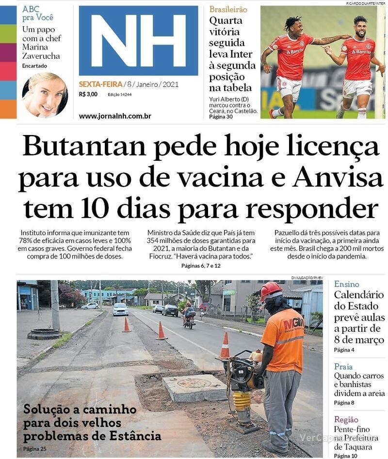 Capa do jornal Jornal NH 08/01/2021