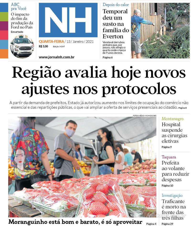 Capa do jornal Jornal NH 13/01/2021