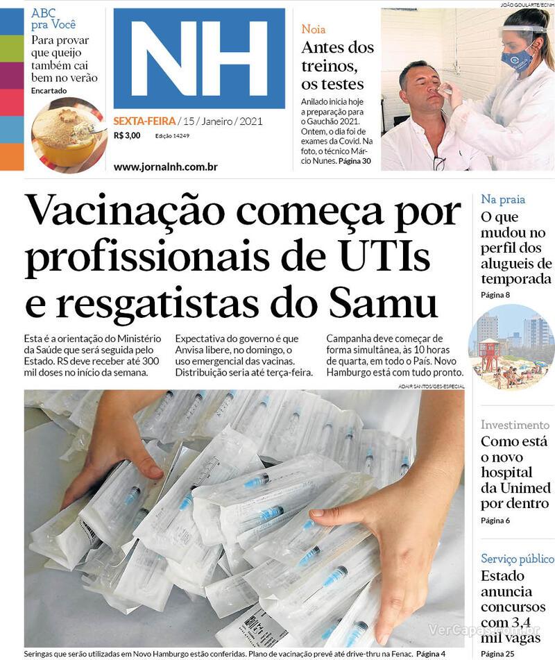Capa do jornal Jornal NH 15/01/2021