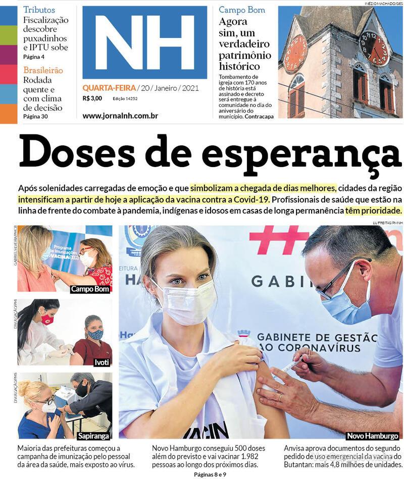 Capa do jornal Jornal NH 20/01/2021