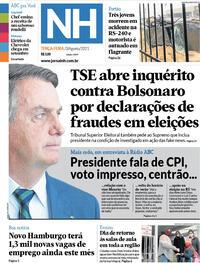 Capa do jornal Jornal NH 03/08/2021