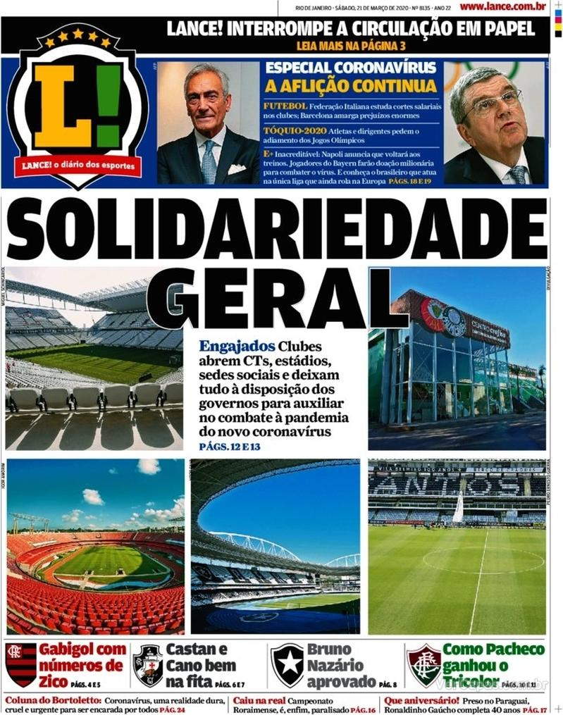Capa do jornal Lance - Rio de Janeiro 21/03/2020