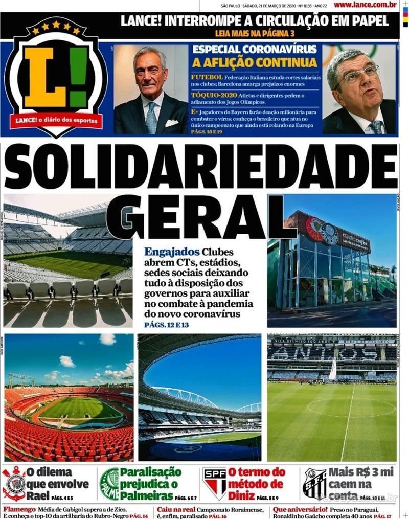 Capa do jornal Lance - São Paulo 21/03/2020