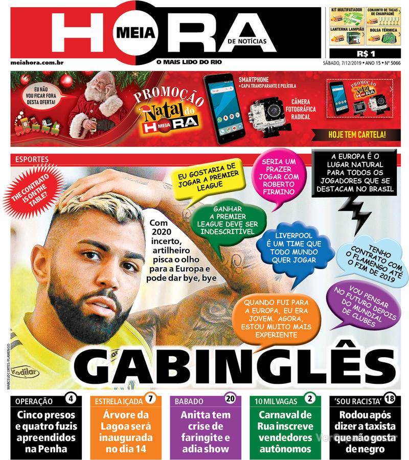 Capa do jornal Meia Hora 07/12/2019