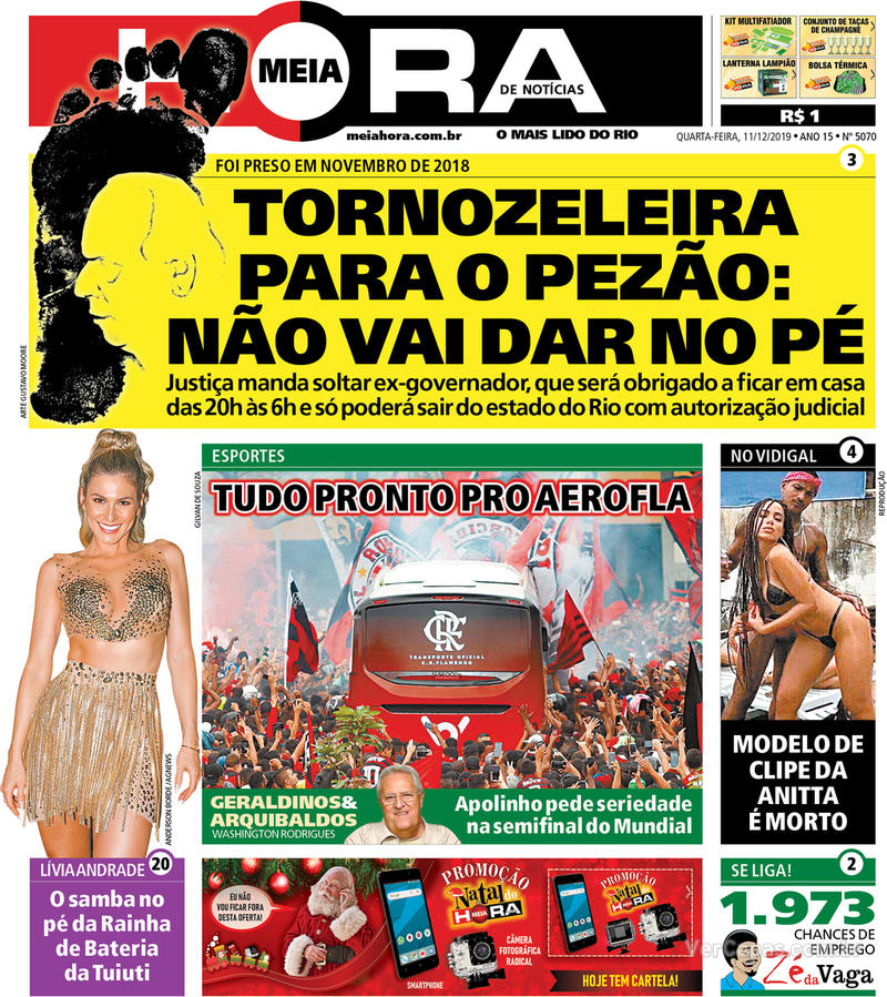 Capa do jornal Meia Hora 11/12/2019