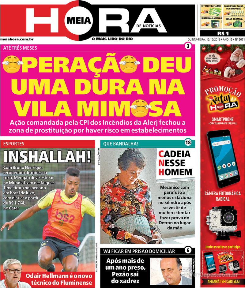 Capa do jornal Meia Hora 12/12/2019