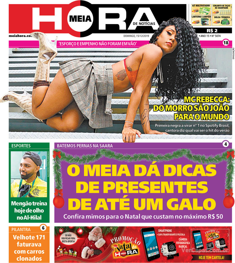 Capa do jornal Meia Hora 15/12/2019