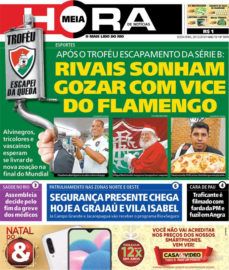 Capa do jornal Meia Hora 20/12/2019