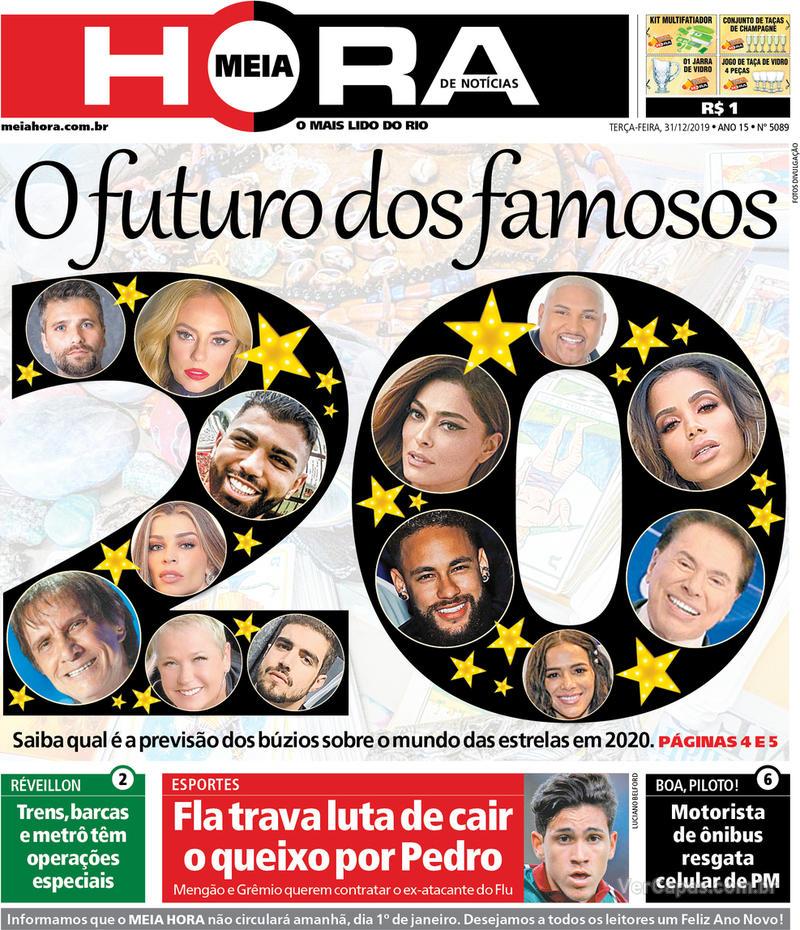 Capa do jornal Meia Hora 31/12/2019