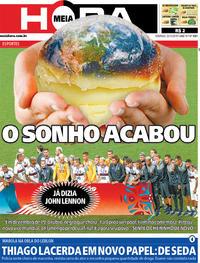 Capa do jornal Meia Hora 22/12/2019