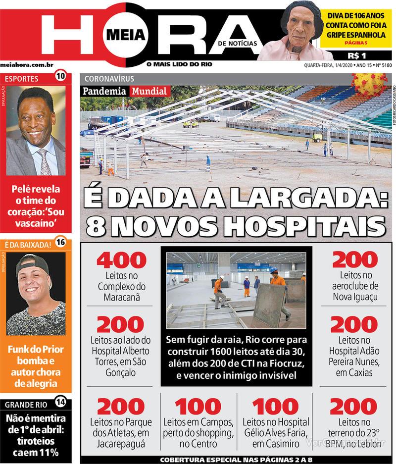 Capa do jornal Meia Hora 01/04/2020