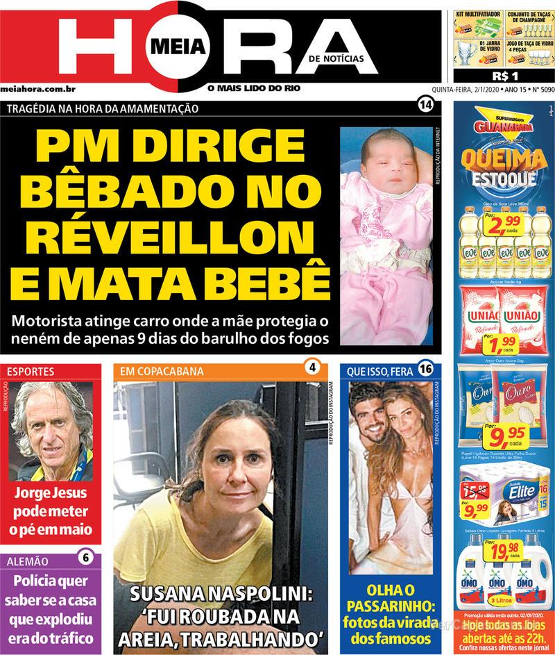 Capa do jornal Meia Hora 02/01/2020