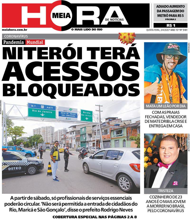 Capa do jornal Meia Hora 02/04/2020
