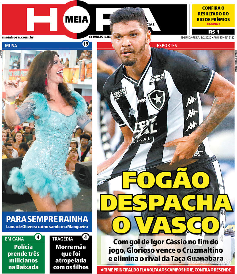 Capa do jornal Meia Hora 03/02/2020