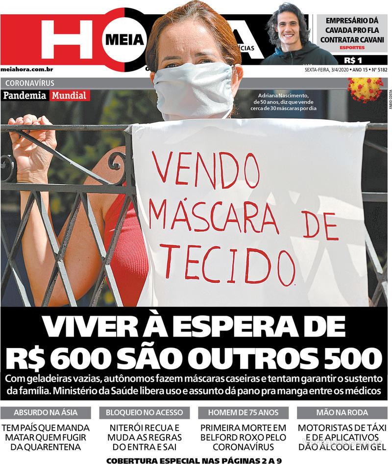 Capa do jornal Meia Hora 03/04/2020