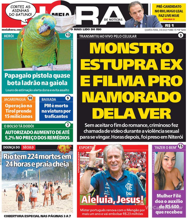 Capa do jornal Meia Hora 03/06/2020