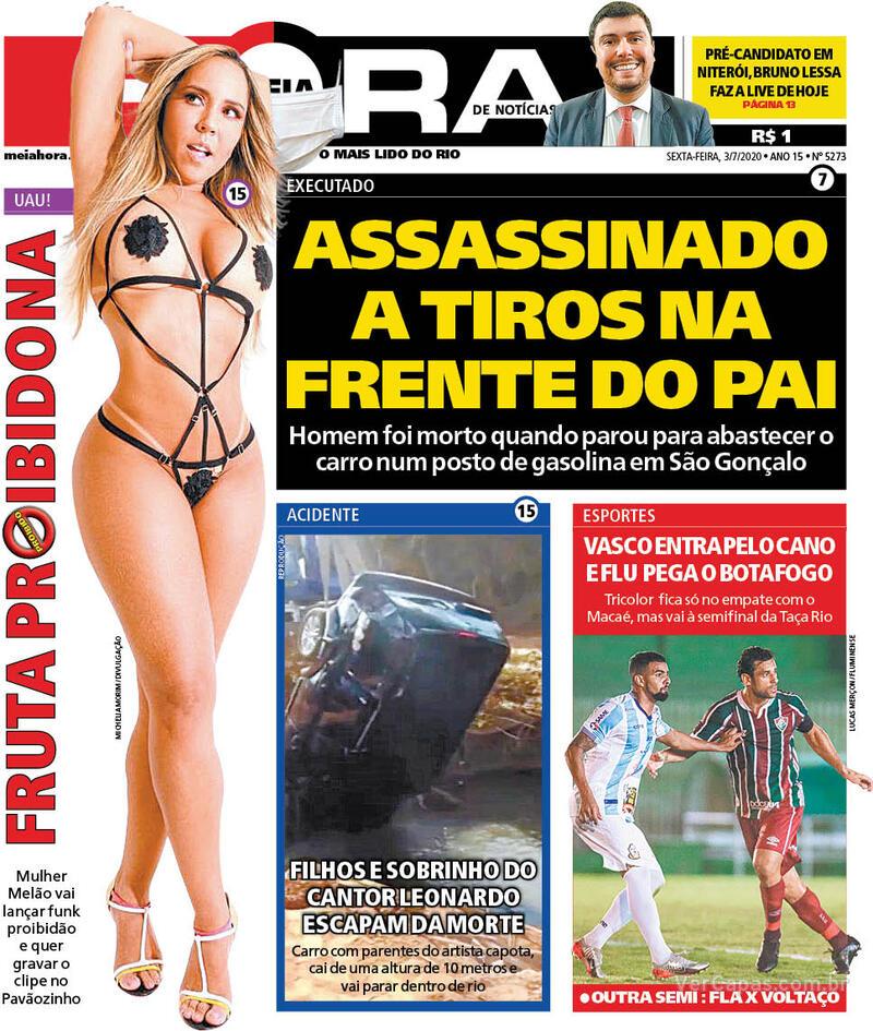 Capa do jornal Meia Hora 03/07/2020