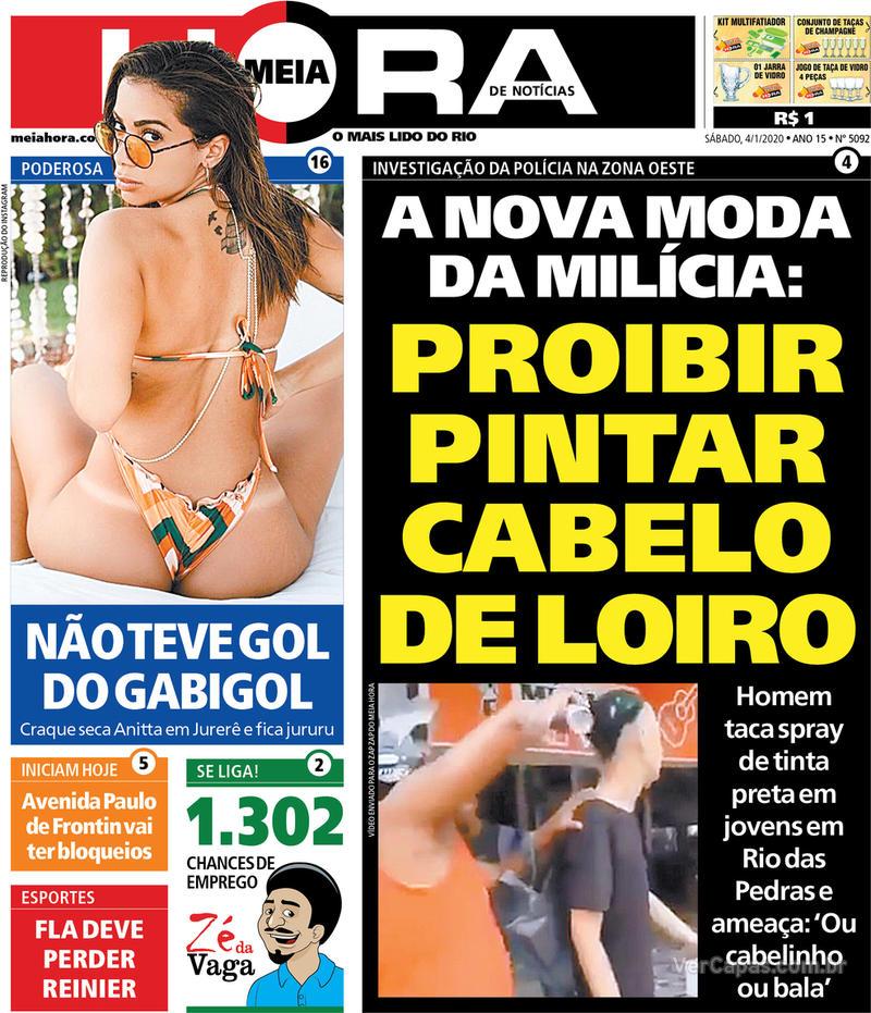 Capa do jornal Meia Hora 04/01/2020
