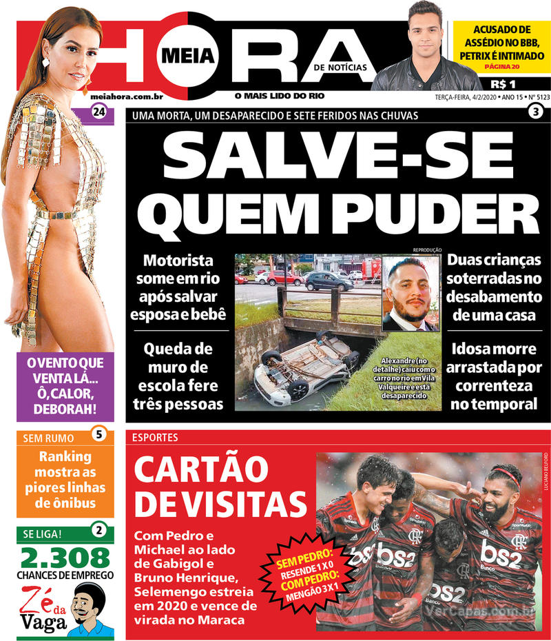 Capa do jornal Meia Hora 04/02/2020