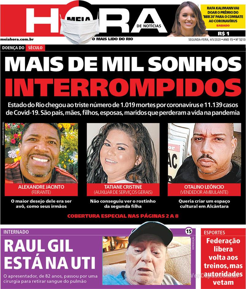 Capa do jornal Meia Hora 04/05/2020