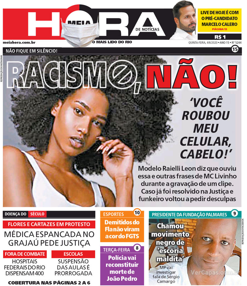 Capa do jornal Meia Hora 04/06/2020