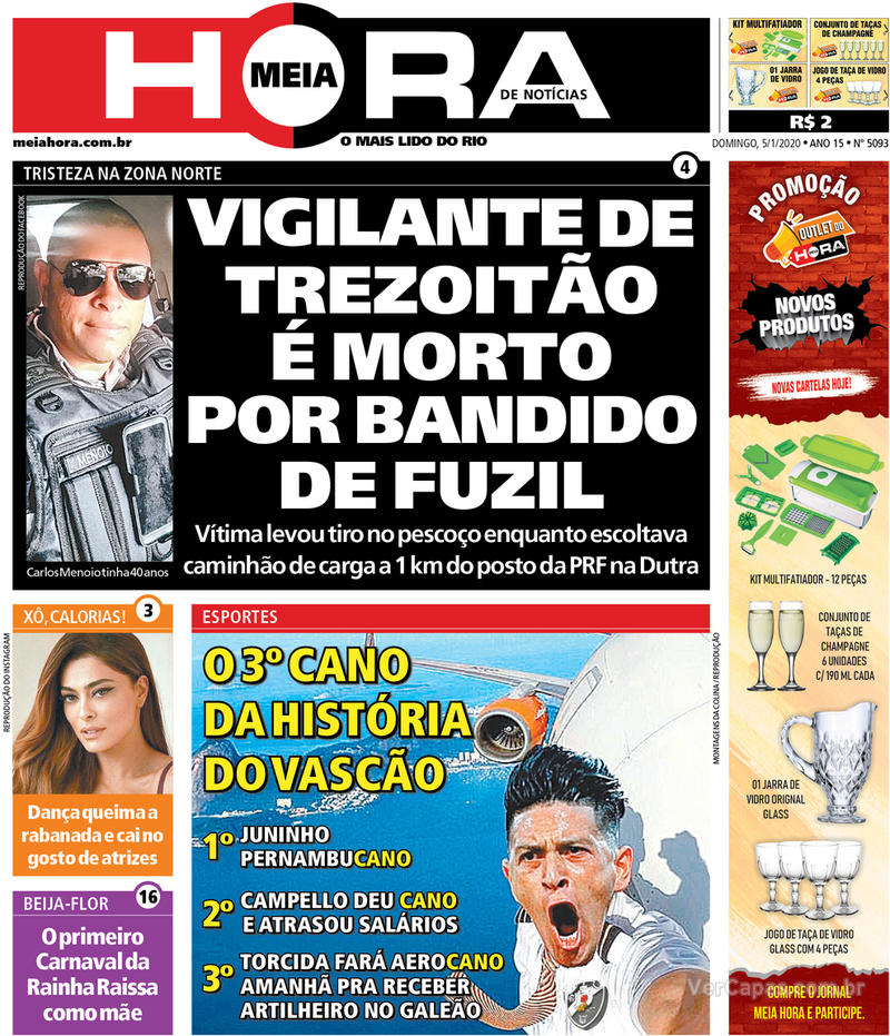Capa do jornal Meia Hora 05/01/2020