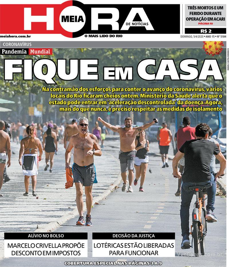 Capa do jornal Meia Hora 05/04/2020