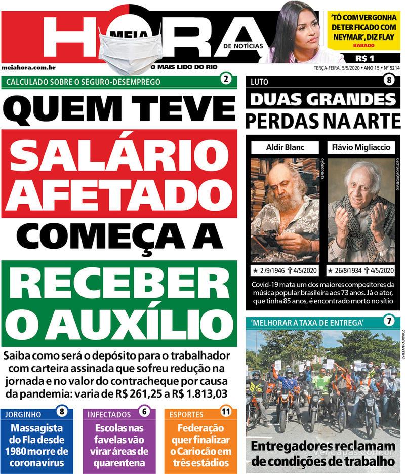 Capa do jornal Meia Hora 05/05/2020