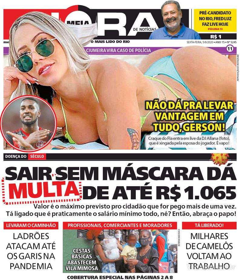 Capa do jornal Meia Hora 05/06/2020