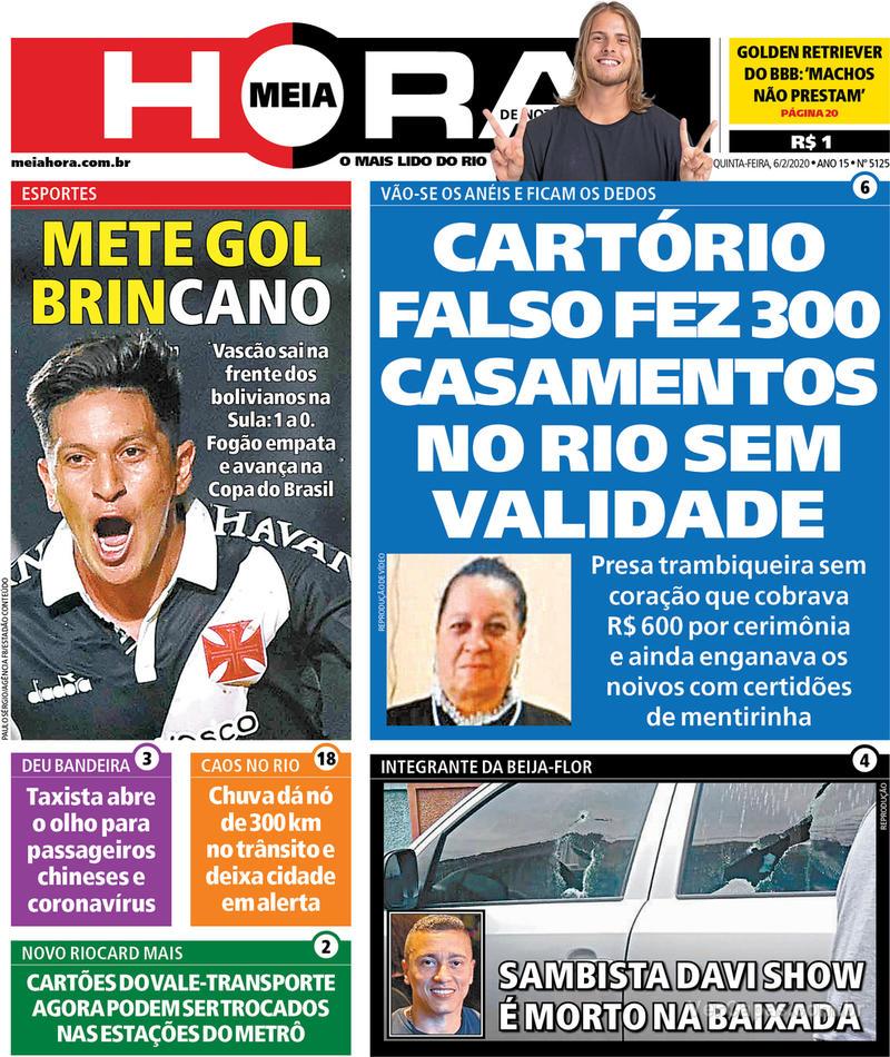 Capa do jornal Meia Hora 06/02/2020