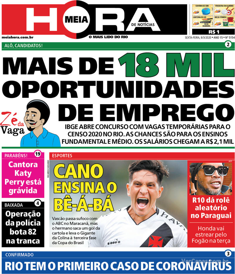 Capa do jornal Meia Hora 06/03/2020