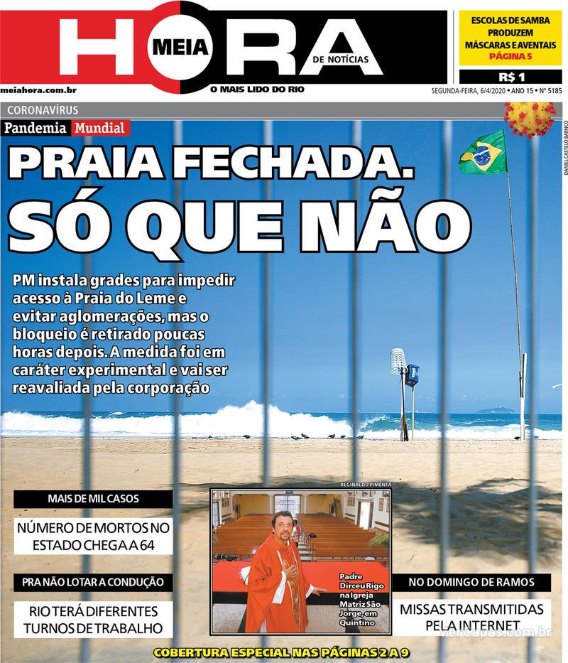 Capa do jornal Meia Hora 06/04/2020