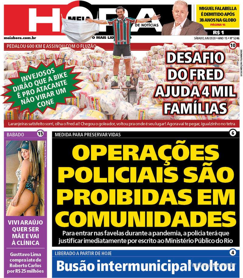 Capa do jornal Meia Hora 06/06/2020
