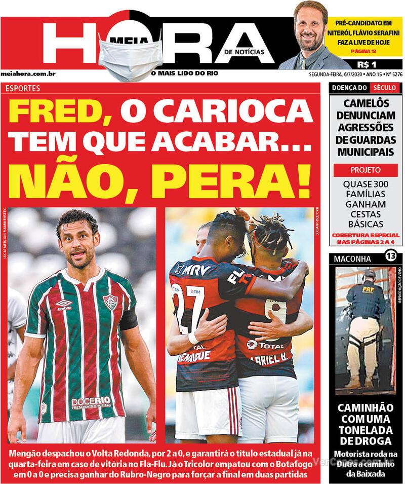 Capa do jornal Meia Hora 06/07/2020
