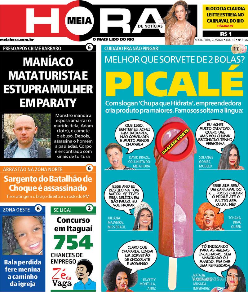 Capa do jornal Meia Hora 07/02/2020