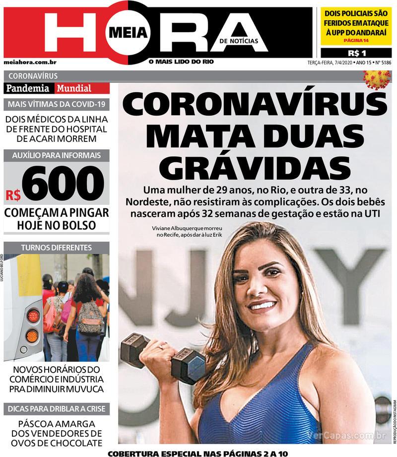 Capa do jornal Meia Hora 07/04/2020
