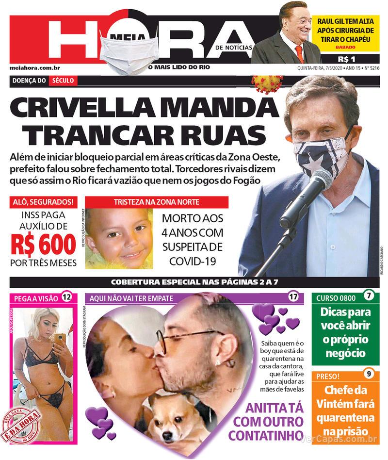 Capa do jornal Meia Hora 07/05/2020