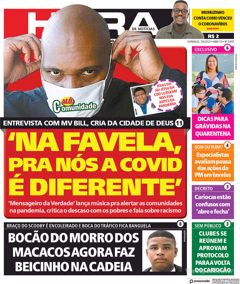 Capa do jornal Meia Hora 07/06/2020