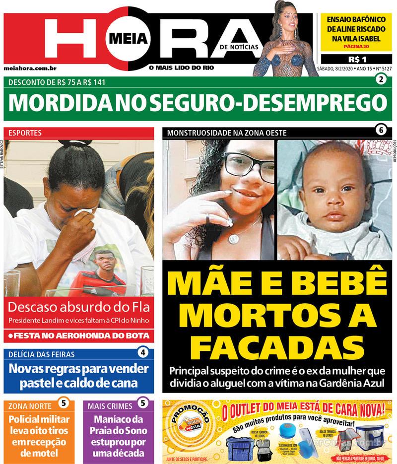 Capa do jornal Meia Hora 08/02/2020