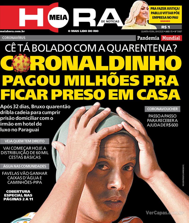 Capa do jornal Meia Hora 08/04/2020