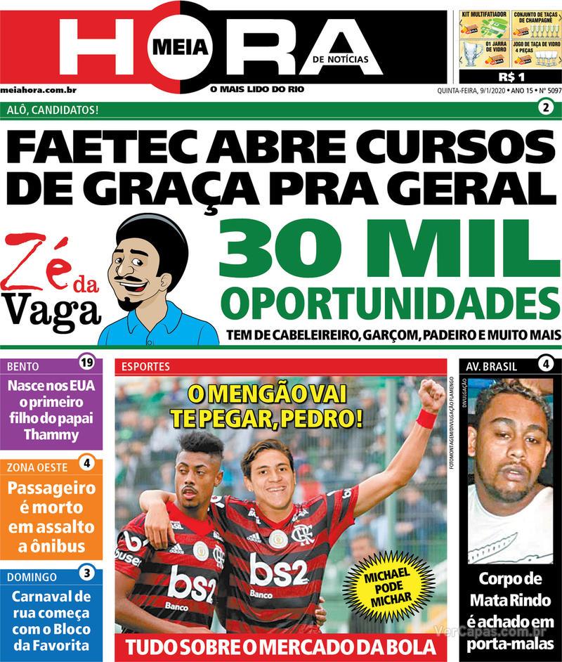 Capa do jornal Meia Hora 09/01/2020