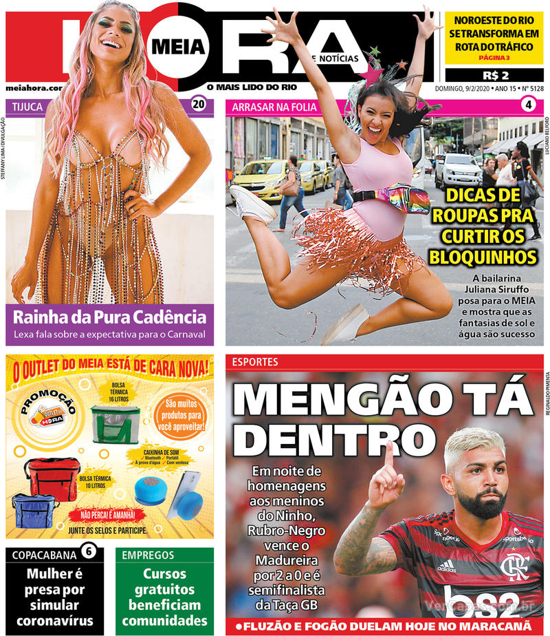 Capa do jornal Meia Hora 09/02/2020
