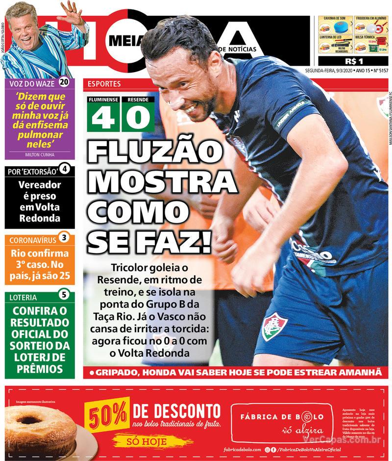 Capa do jornal Meia Hora 09/03/2020