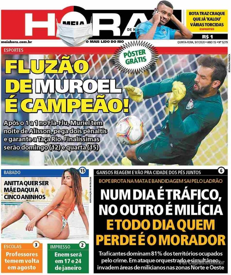 Capa do jornal Meia Hora 09/07/2020