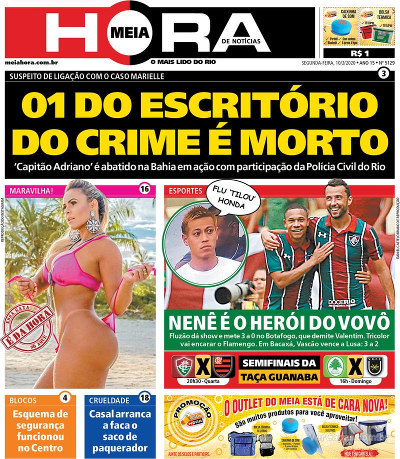 Capa do jornal Meia Hora 10/02/2020