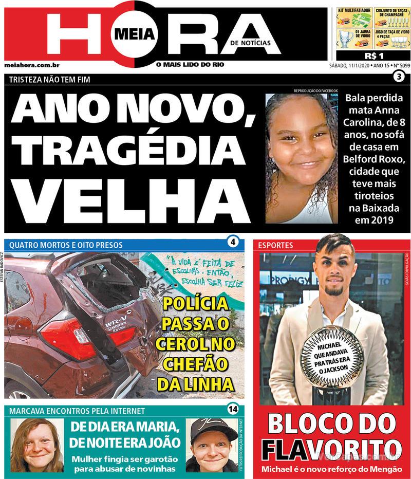 Capa do jornal Meia Hora 11/01/2020