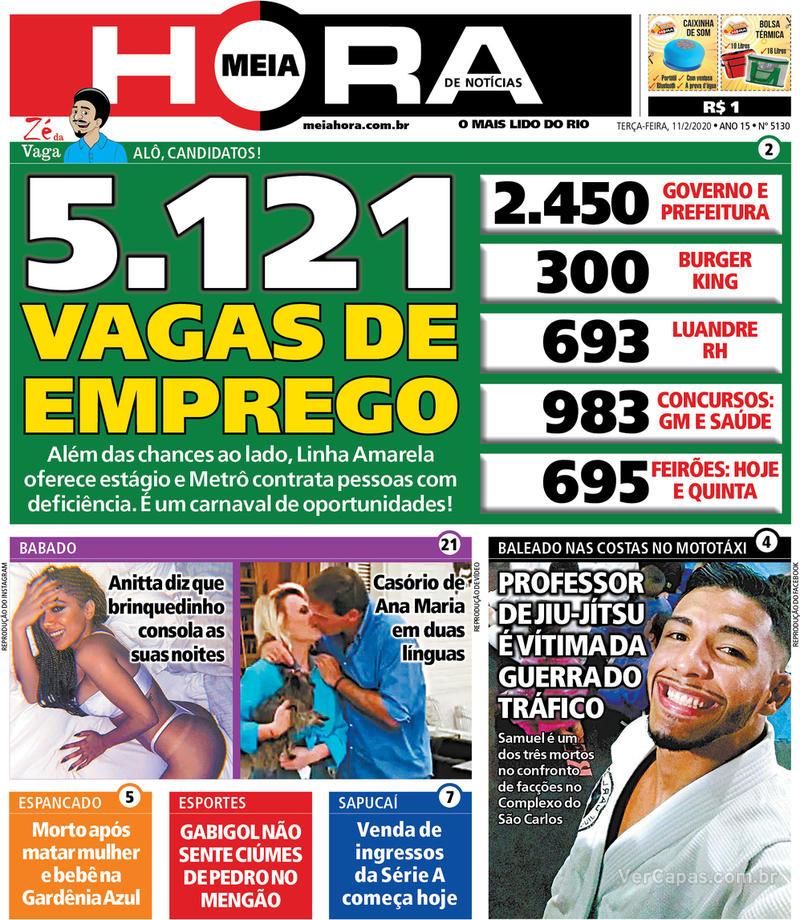 Capa do jornal Meia Hora 11/02/2020