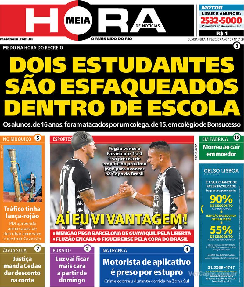 Capa do jornal Meia Hora 11/03/2020